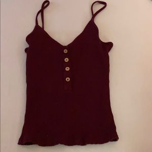 Burgundy Tank Top with buttons